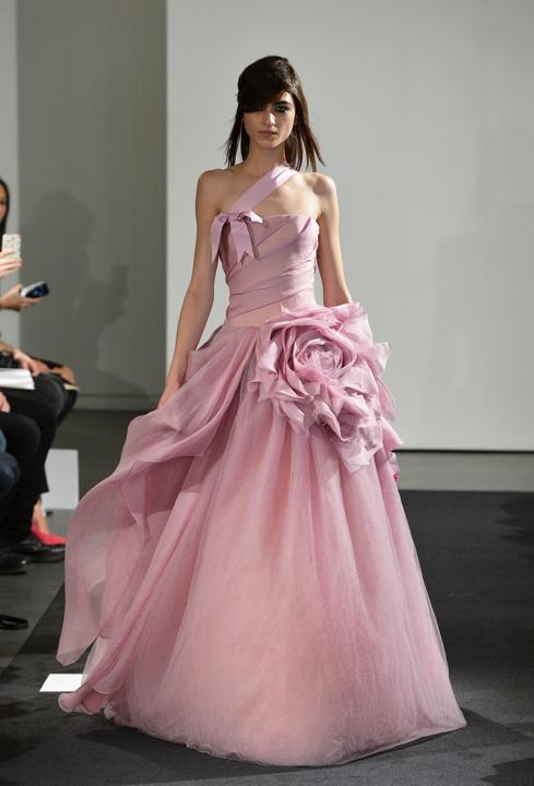 pink vera wang wedding dress