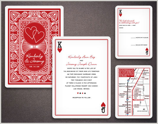 The poker shape paper invitation