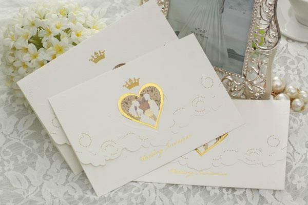 A Princess white paper wedding invitation