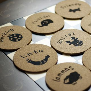 The cute metal round labels wedding invitation